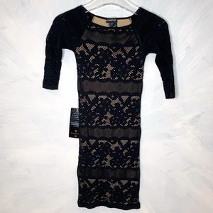 Bebe Bodycon Striped Floral Lace Scoop Neck Dress